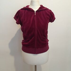 9174767e3b9b Image is loading JUICY-COUTURE-Burgundy-Maroon-Velour-Puff-Sleeve-Jacket-