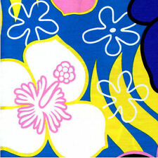 Large Hawaiian Hibiscus Flowers Blue White Quilt Sew Fabric TRANS-PACIFIC