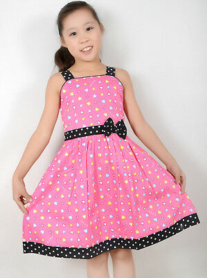 Sunny Fashion Girls Dress Pink Heart Print Party Child Clothes Size 4-12