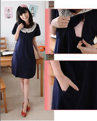 New Maternity Nursing Breastfeeding dress elegant comfortable blue NQ12060