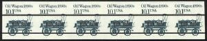 2130b-10-1c-Oil-Wagon-Imperf-Plate-1-Black-Bars-NH-Strip-of-6