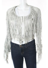 ROBERTO CAVALLI White Leather Fringe Detailed Long Sleeve Jacket Sz EUR 42