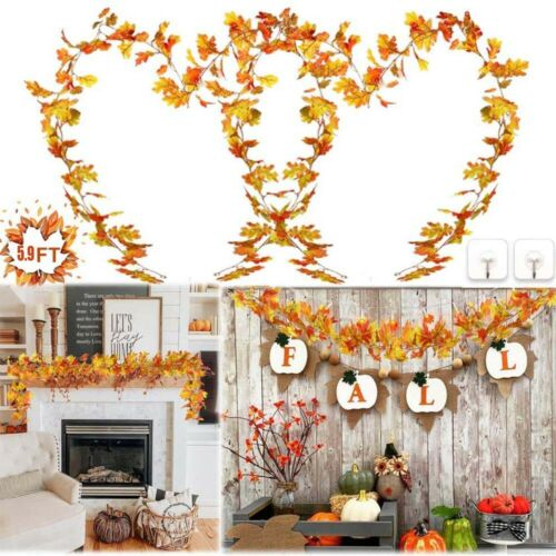 Artificial Autumn  Fall  Maple  Leaves  Garland  Hanging Plant Home Party Decor