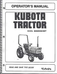 image is loading kubota-b9200hst-tractor-operator-039-s-manual-w-