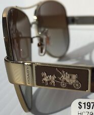 NEW* COACH Christina POLARIZED Aviator GOLD TORTOISE Brown Sunglass HC7047 $280