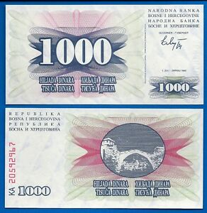 UNC P-15 1992 Bosnia /& Herzegovina 1000 Dinara