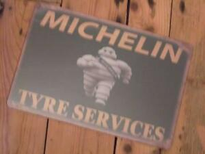 VINTAGE METAL ADVERTISING SIGN SMOKING MICHELIN MAN GARAGE MANCAVE WALL PLAQUE