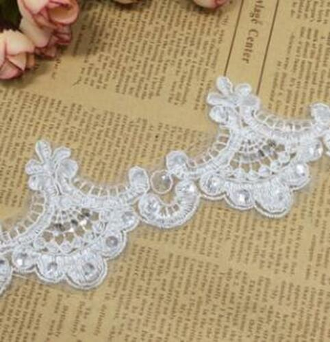 2Yard Gold Embroidery Sequins Lace Trim Wedding Dress Applique DIY Sewing