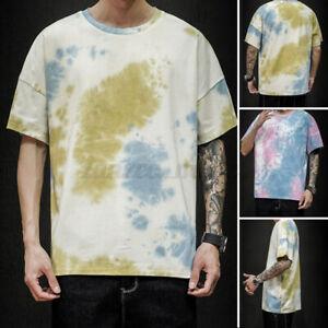 Mens-Womens-Tie-Dye-T-Shirt-Summer-Festival-Short-Sleeve-Tye-Die-Unisex-Tee-Top