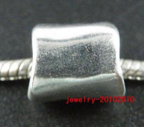 25pcs Tibetan Silver Smooth Big Hole Tubes Spacers 15x11mm 10986