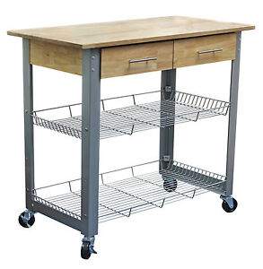 Details about eHemco Metal Kitchen Cart with Natural Solid Wood Top and  Adjustable Racks