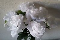 White Silk Flower Open Rose Bush