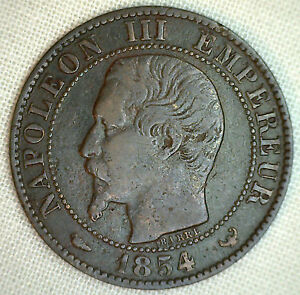 1854-CON-FRANCIA-5-CENTIMOS-KM-797-1-YG-MUNDIALES-MONEDA-BRONCE-P