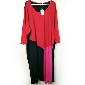 NWT-Ulla-Popken-28-30W-4X-Stretch-Knit-Dress-Bold-Colorblock-Career-or-Casual