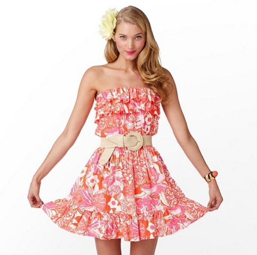 333ff11080b LILLY PULITZER Women s XS 2 orange Tango QUINCY Strapless Ruffle Mini Dress  E1P