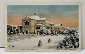 Washington-DC-Franciscan-Monastery-View-of-the-Monastery-Snow-Scene-Postcard-C15