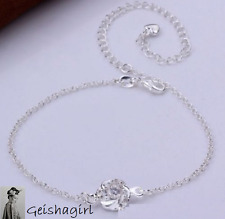 Clear Sexy 925 Silver Anklet Foot Chain Crystals Bracelet Love UK Seller