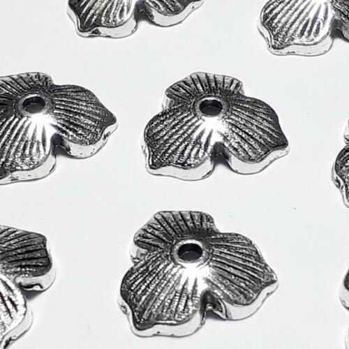 B16897 20pcs Floral Leaf Bead Caps Antique Silver 11mm Fits 14-20mm Beads