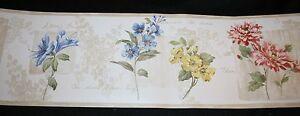 Brewster-Wallcoverings-Wallpaper-Border-New-Beige-Floral-Print-Botanical-Names