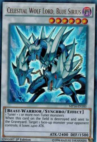 Celestial Wolf Lord Blue Sirius MP14-EN183 X 3 Mint  1st  YUGIOH Ultra Rare