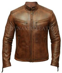 Mens Biker Club New Classic Diamond Vintage Distressed Brown Real Leather Jacket