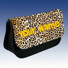 Leopard Pattern Pencil Case / DS Case / Makeup Bag Personalised With Your Name