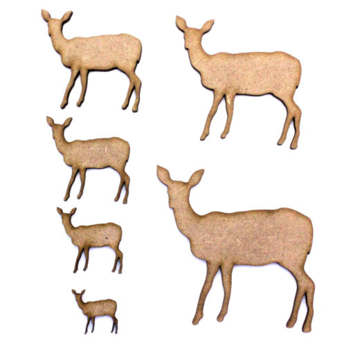 Woodland Nature 2mm MDF Wood Forest Doe Deer Craft Shape Various Sizes
