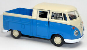 VW-camionnette-t1-double-cabine-pick-up-bleu-voiture-miniature-1-37-Metal-Moulage-WELLY