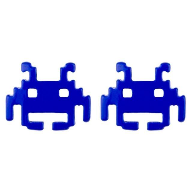 Joe Cool di Marca Rétro Giocatori Space Invaders Alieno Orecchini a Lobo - Blu