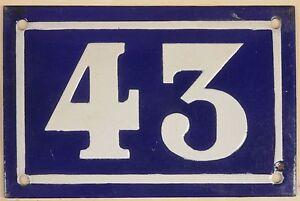 Old-blue-French-house-number-43-door-gate-plate-plaque-enamel-metal-sign-c1950