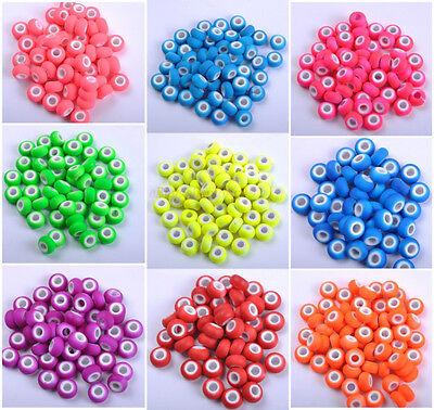10pcs Silver Buckle Acrylic Plastic beads European Charm Fluorescent beads 14MM