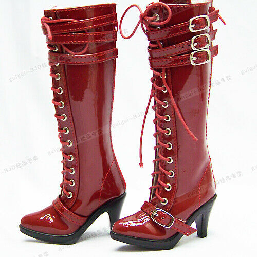 1//3SD13//GR BJD Shoes Knee-high Bright Leather Boots High Heels DZ AOD AS DF Red