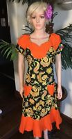 Lady Mia's Of Africa Large Women's African Dress Wax Cotton Orange Green 38 Bust
