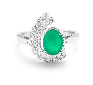 925-Sterling-Silver-Natural-Emerald-Ring-Halo-Gemstone-Size-4-5-6-7-8-9-10-11