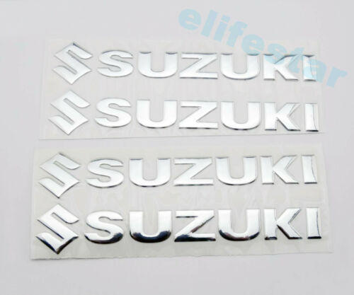 14.5cm 3D Raised Silver Fuel Gas Tank Fairing Emblem Decal Stickers For Suzuki