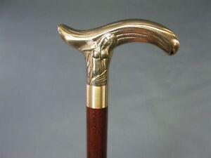 Antique Wooden Walking Cane Sirène Tête Laiton Poignée Vintage Stick Neuf Cadeau-afficher Le Titre D'origine