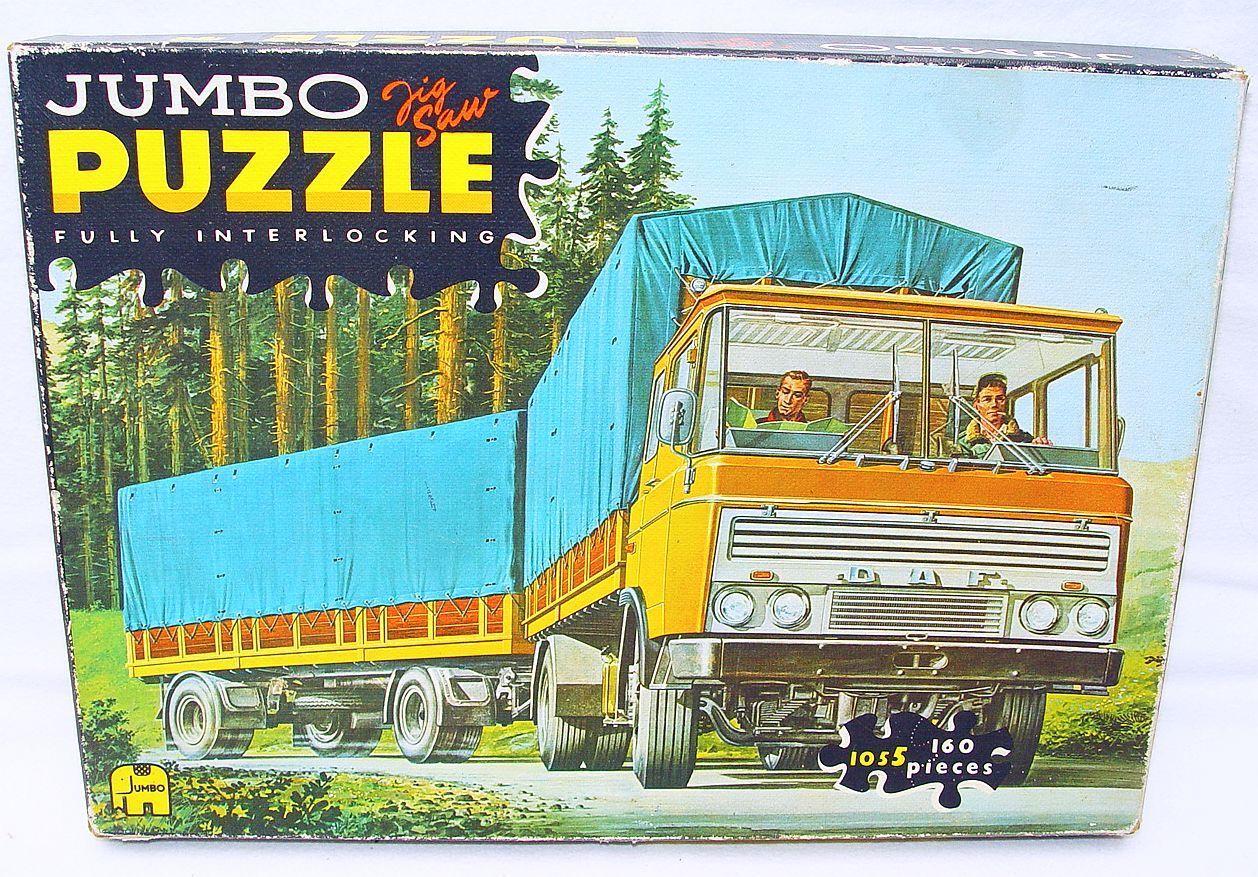 Jumbo Holland DAF 2600 TRUCK & TRAILER 160 Pieces Jigsaw Puzzle MIB`70 Top RARE