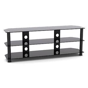 "G-VO 3 Shelf Black Glass TV Stand for Sharp 49"" LC-49CFE6142EW Smart FHD LED TV"