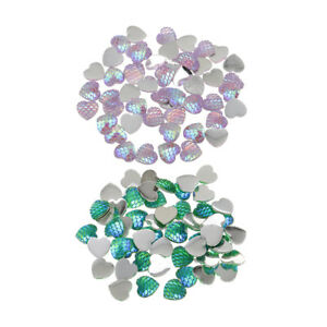 100x-Resin-Flatback-Mermaid-Fish-Scale-Buttons-Flat-Back-Cabochons-DIY-Craft