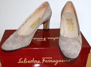 8a9b0a690b7 Image is loading Salvatore-FERRAGAMO-Sz-7-5AA-Tan-Suede-Heels-