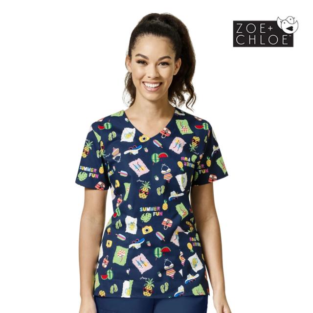 Printed Scrub Top - Womens Summer Beach Print Nurse Medical Paediatric Uniforms