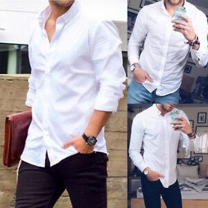 White-Mens-Classic-Formal-Shirt-Long-Sleeve-Slim-Fit-Blouse-Dress-Shirts-Tops-HU