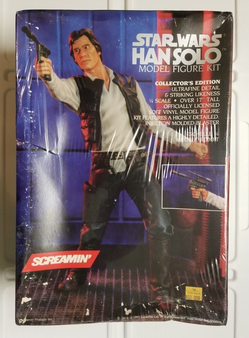 1993 Screamin' STAR WARS HAN SOLO Model Kit Factory Sealed 1 4 scale
