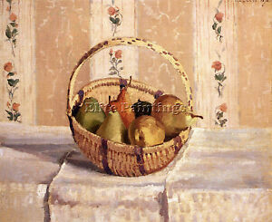 PISSARRO-CAMILLE-STILL-LIFE-APPLES-PEARS-ROUND-BASKET-ARTIST-PAINTING-OIL-CANVAS