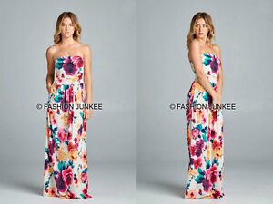3e0091d0ce0 WHITE 62 FLORAL MAXI DRESS Strapless Tube Jersey Long Full Length ...