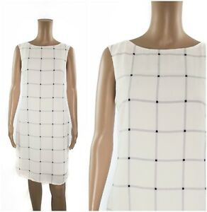 ex-M-amp-S-Autograph-Ivory-Relaxed-Fit-Crepe-Grid-Print-Shift-Dress
