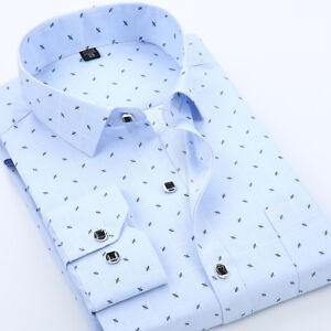 3814b3a23b7 Mens Luxury Shirts Casual Formal Slim Long Sleeve Shirt Top XS S M L ...