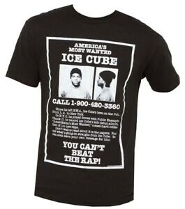 Ice-Cube-America-039-s-Most-Wanted-Black-Men-039-s-Graphic-T-Shirt-New