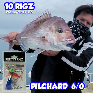 10-Snapper-snatchers-Rig-Fishing-Rigs-Tackle-Mixed-Colour-6-0-Circle-Hook-Bait