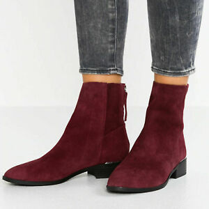 LADIES-EX-TOPSHOP-KOKO-BURGUNDY-LEATHER-SUEDE-ANKLE-CHELSEA-BOOTS-SHOES-SIZE-2-9